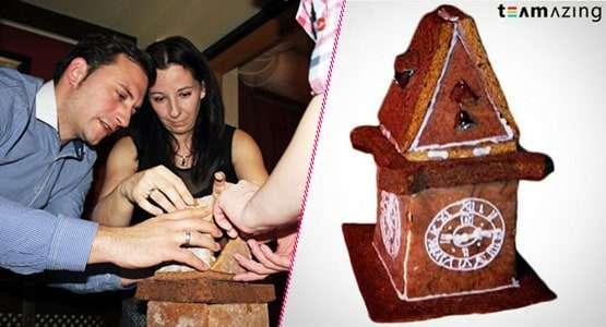 Lebkuchen Uhrturm aus Lebkuchen lusige Weihnachtsfeier Idee von teamazing