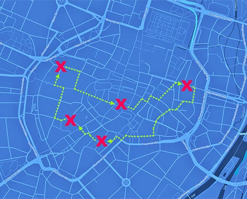 Sinnbildliche Darstellung der Route der City-Challenge München